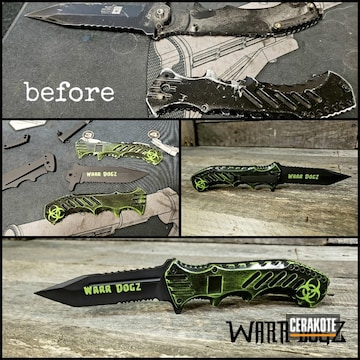 Cerakoted Zombie Biohazard Themed Knife Finish Cerakoted With H-190, H-168 And H-300