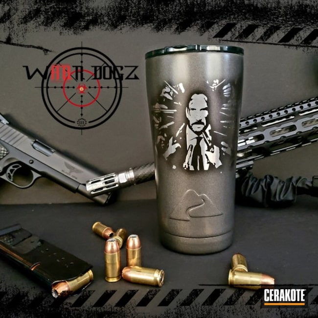"Thumbnail image for project ""John Wick Themed Ozark Trail Tumbler Cerakoted with H-190, H-237 and H-300"""