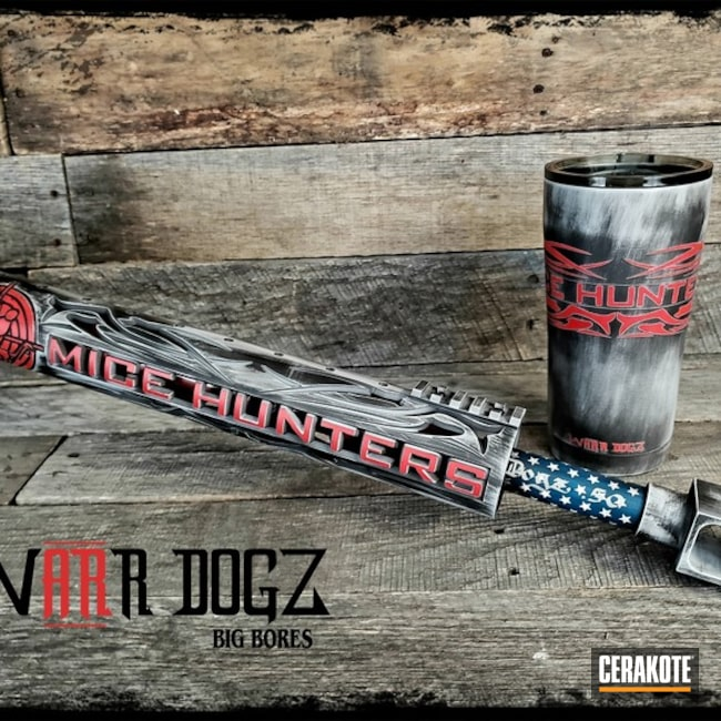 Matching Battleworn Rifle and Tumbler Finish Cerakoted with H-167, H-190, H-169, H-213 and H-297