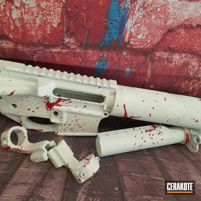 Cerakoted: S.H.O.T,Blood Splatter,FIREHOUSE RED H-216,Snow White H-136,Gun Parts,Gun Coatings,Snow,AR-15