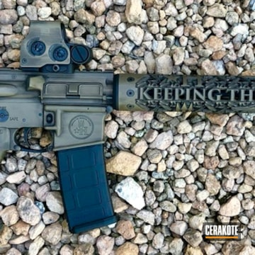 Cerakoted Distressed Ar-15 Rifle Cerakoted With H-146, H-148 And H-265