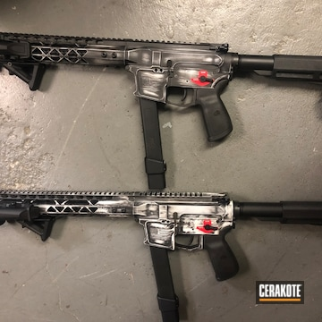Cerakoted Distressed Ar-9 Rifles Cerakoted With H-146 And H-297