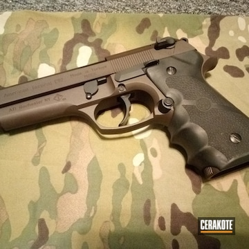 Cerakoted American Tactical 1911 Two Tone Handgun Cerakoted With H-190 And H-293