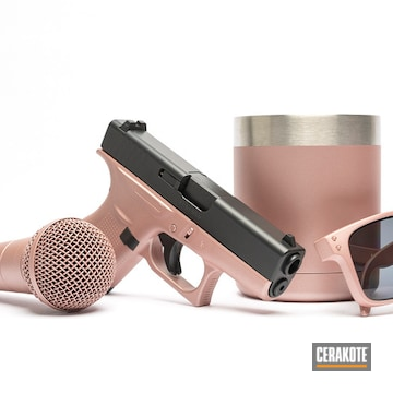 Cerakoted Custom Cup, Sunglasses, Microphone And Glock Handgun Cerakoted With H-327 Rose Gold