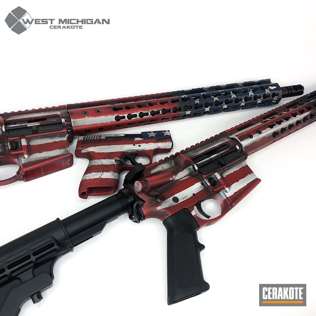 Matching American Flag ARs and Handgun Cerakoted with H-221, H-242 and H-127