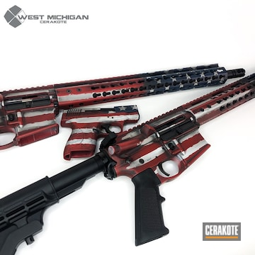 Cerakoted Matching American Flag Ars And Handgun Cerakoted With H-221, H-242 And H-127