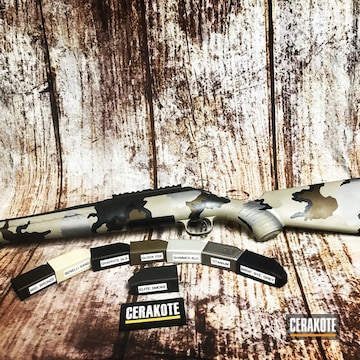 Cerakoted Kuiu Camo Rifle Cerakoted With H-146, H-188, H-158, H-170, H-143, H-294, H-261 And E-120