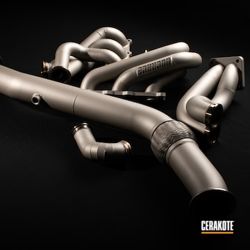 Cerakoted Drift Car Exhaust And Headers Cerakoted With c-7900 And C-7800