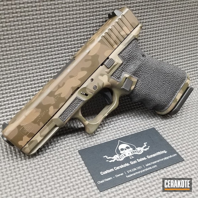 Woodland Camo Glock 23 Cerakoted with H-265, H-226, H-236 and HIR-146