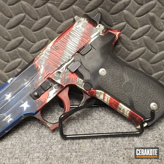 "Thumbnail image for project ""American Flag Sig Sauer Handgun Cerakoted with H-146, H-167, H-171 and H-297"""