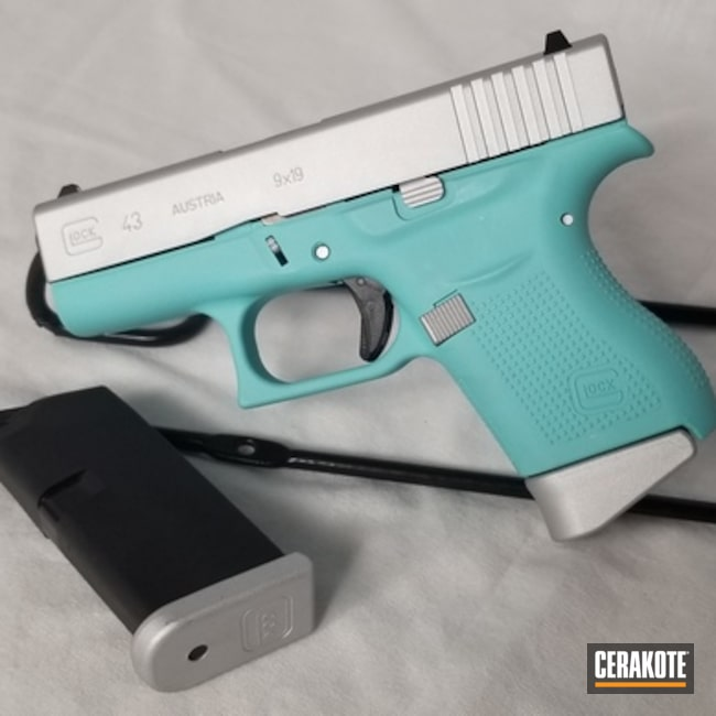 Two Toned Glock 43 Handgun Cerakoted with H-151 and H-175