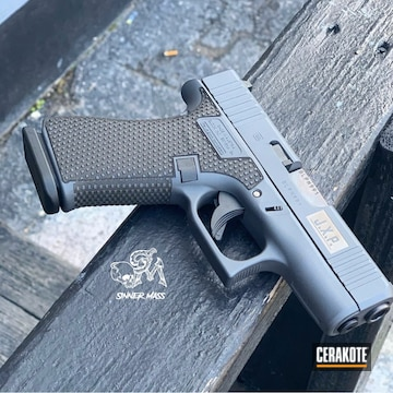 Cerakoted Laser Engraved And Stippled Glock Handgun Cerakoted With H-234
