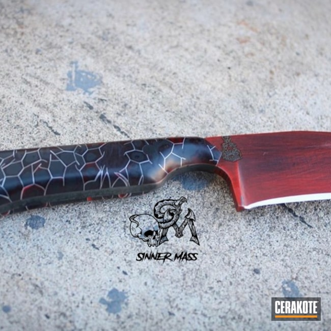 Cerakoted: S.H.O.T,Knife Blade,FIREHOUSE RED H-216,Fixed-Blade Knife,Graphite Black H-146,More Than Guns,Knife,Knives