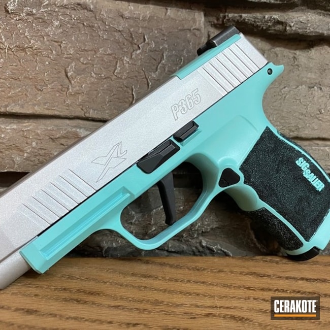 Two Toned Sig Sauer P365 Handgun Cerakoted with H-151 and H-175
