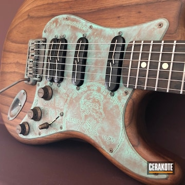 Cerakoted Antique Copper Patina Effect On This Custom Electric Guitar Pickguard Cerakoted With H-146