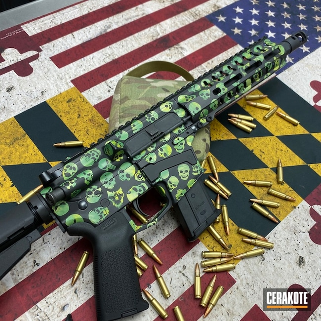 Cerakoted Ghost Skull Camo Ar-15 Cerakoted With H-190, H-313, H-316 And H-317