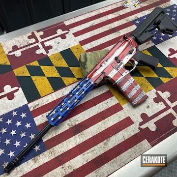 Cerakoted American Flag Ar-15 Cerakoted With H-146, H-157, H-171 And H-216