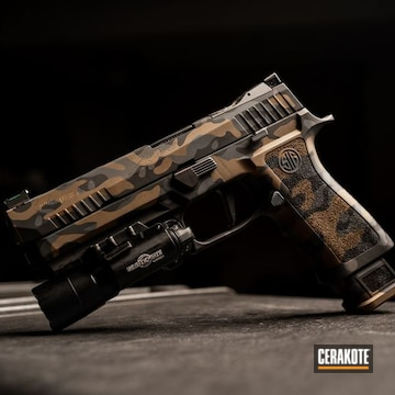 Cerakoted Custom Multicam Sig P320 Handgun Cerakoted With H-146, H-148 And H-234