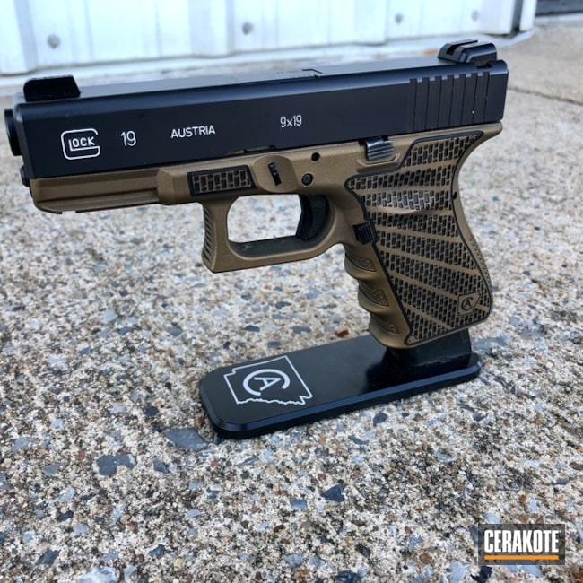 Laser Stippled Glock 19 Cerakoted with H-148 and HIR-146