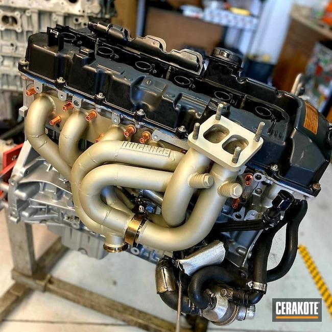 Cerakoted: CERAKOTE GLACIER GOLD C-7800,CERAKOTE GLACIER TITANIUM C-7900,Exhaust,BMW,More Than Guns,Automotive,Manifold,Turbo,Race Car,Drift Car