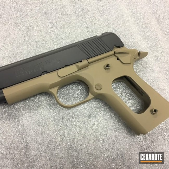 Two Toned Colt MK IV 1911 Handgun Cerakoted with H-146 and H-235
