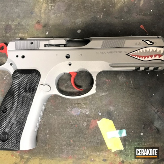 Cerakoted Cz Handgun Fighter Plane Shark Mouth Graphics Cerakoted With H-146, H-167 And H-147