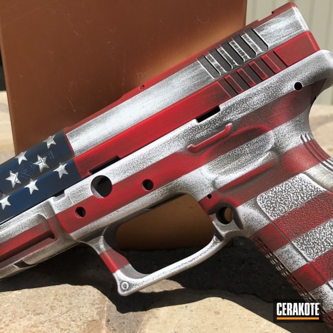Cerakoted American Flag Springfield Xd-9 Handgun Cerakoted With H-148, H-167, H-127 And H-297