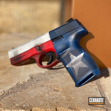 Cerakoted Texas Flag Themed Smith & Wesson Handgun Cerakoted With H-167, H-190, H-127 And H-297