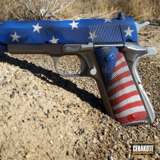 American Flag Springfield 1911 Cerakoted with H-167, H-171 and H-136