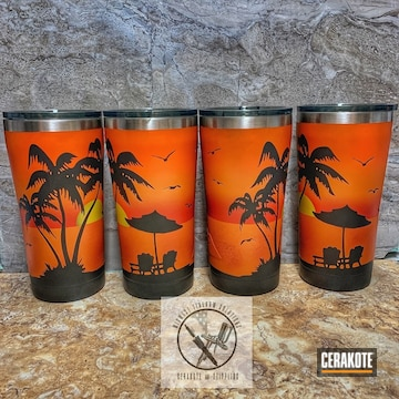 Cerakoted Ozark Trail Beach Themed Tumblers Cerakoted With H-146, H-216, H-128, H-309 And H-317