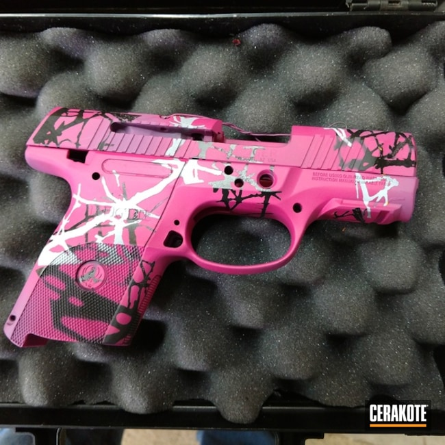 Custom Ladies Camo Ruger Handgun Cerakoted with H-190, H-224, H-136 and H-197