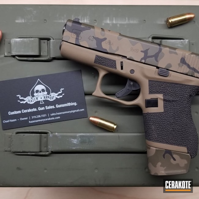 Custom MultiCam Glock 43 Handgun Cerakoted with H-146, H-231 and H-265