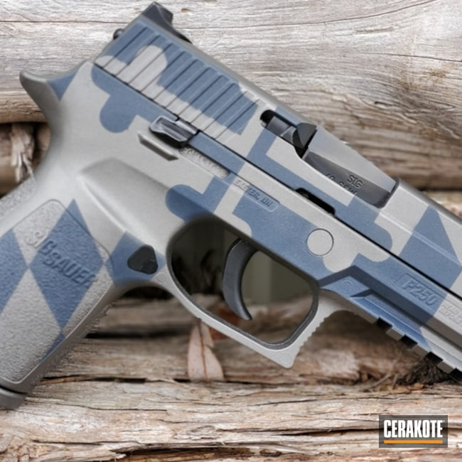 Cerakoted: S.H.O.T,Gun Metal Grey H-219,Pistol,Sig Sauer,Gun Coatings,Sig Sauer P250,COBALT KINETICS™ SLATE H-295,COBALT KINETICS SLATE H-295
