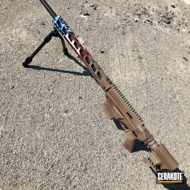 American Flag Ruger Precision Rifle Cerakoted with H-267, H-167, H-171, H-212 and H-297