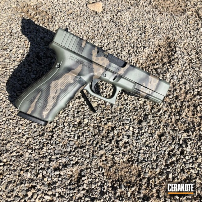 Riptile Camo Glock 20 Handgun Cerakoted with H-267, H-212 and E-140