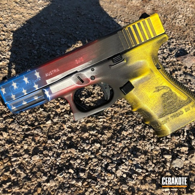 Glock 19 Handgun and American / Gadsden Snake Flag Blend Cerakoted with H-146, H-171, H-144, H-216 and H-297