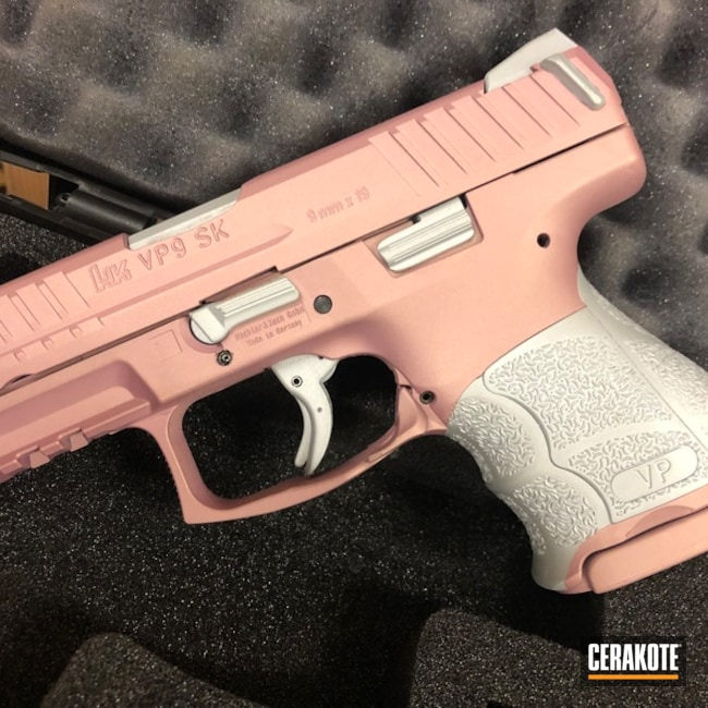 Thumbnail version of the 4th project picture. Heckler & Koch, Two Tone, Pistol, SHOT, Crushed Silver H-255Q, H&K, Gun Coatings, Pink Champagne H-311Q