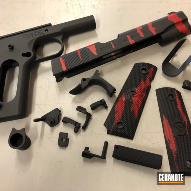 Cerakoted: SHOT,Tiger Stripes,Graphite Black H-146,Gun Parts,Springfield Armory,Gun Coatings,1911,SMITH & WESSON® RED H-216