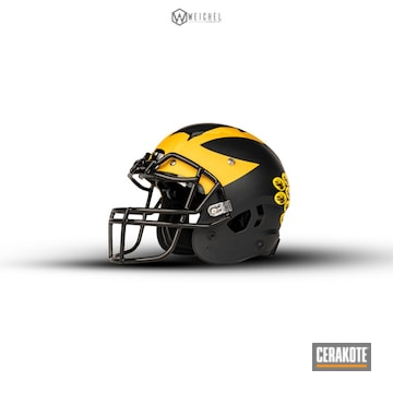 Cerakoted Michigan Football Helmet Cerakoted With H-146, H-171, H-221 And H-144