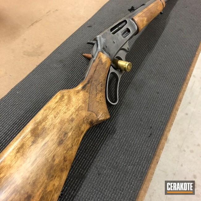 Cerakoted: Rifle,SHOT,Marlin,Graphite Black H-146,Distressed,Lever Action,Gun Metal Grey H-219,Marlin 30-30,Gun Coatings,Marlin 336