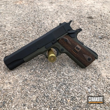 Cerakoted Two Toned 1911 Handgun Cerakoted With H-146 And H-264