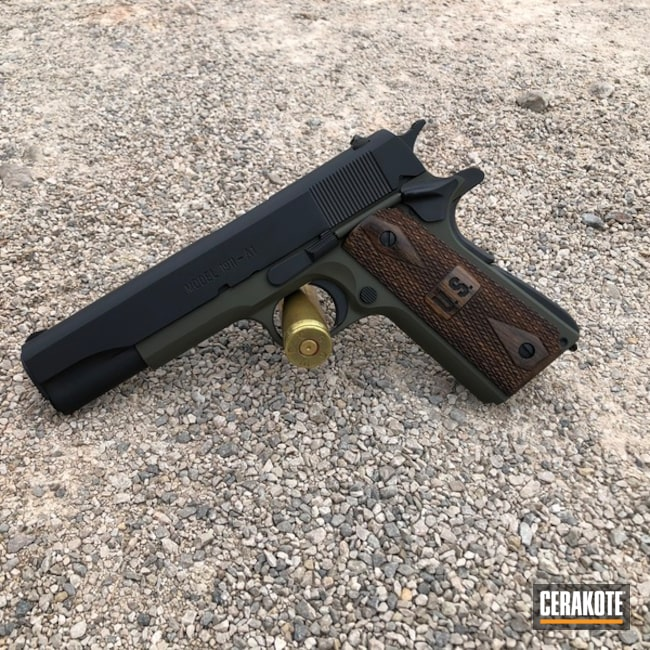 Cerakoted: SHOT,Graphite Black H-146,Two Tone,Pistol,Gun Coatings,1911,Mil Spec Green H-264