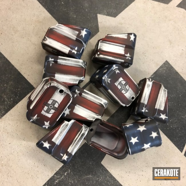"Thumbnail image for project ""American Flag Pmags and Baseplates Cerakoted with H-146, H-167, H-127 and H-297"""