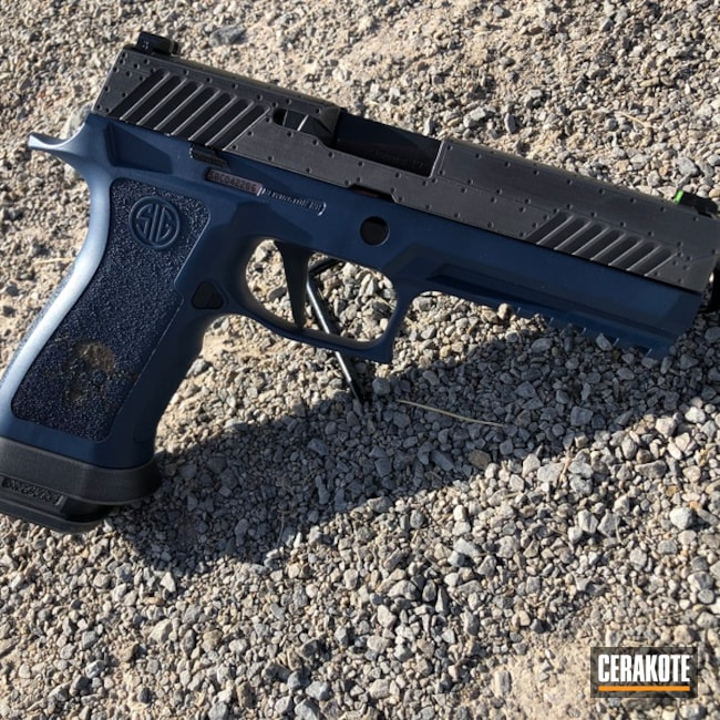 Cerakoted: SHOT,Sig Sauer P320,Graphite Black H-146,Distressed,KEL-TEC® NAVY BLUE H-127,Gun Metal Grey H-219,Pistol,Sig Sauer,Gun Coatings,Laser Engrave