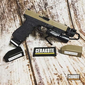 Cerakoted Two Toned Glock 17 Handgun Cerakoted With E-170 And E-100