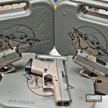 Cerakoted Baby Yoda Themed Glock Handguns And Cases Cerakoted With E-140, E-170 And E-100