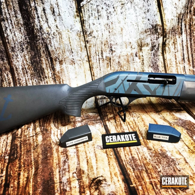 Cerakoted: SHOT,Shotgun,Grass Camo,12 Gauge,Concrete E-160,Concrete E-160G,Gun Coatings,Blue Titanium H-185