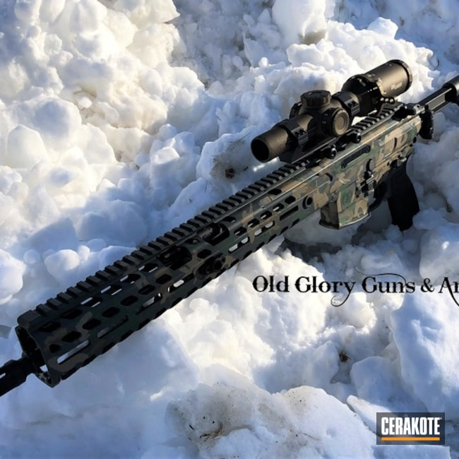 Cerakoted: MAGPUL® FLAT DARK EARTH H-267,Sig Sauer MCX,Woodland Camo,Tactical Rifle,Sig Sauer,SIG™ DARK GREY H-210,SHOT,Highland Green H-200,Woodland Camo Pattern,MCX,Burnt Bronze H-148,Gun Coatings,Sig Sauer Optic