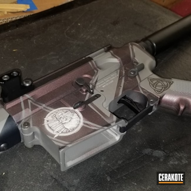 Cerakoted: SHOT,Black Cherry,Wolfpack Armory,Side Charger,Armor Black H-190,Tactical Rifle,Gun Coatings,SIG™ DARK GREY H-210,Laser Engrave,AR-15,GunCandy