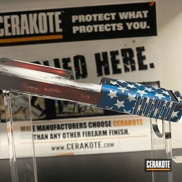 Cerakoted American Flag Themed Glock 19 Pistol Slide Cerakoted With H-146, H-221, H-169 And H-297